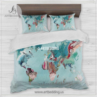 Travel map bedding, Bohemian adventure duvet cover set, Wanderlust travel map comforter set Bedding set