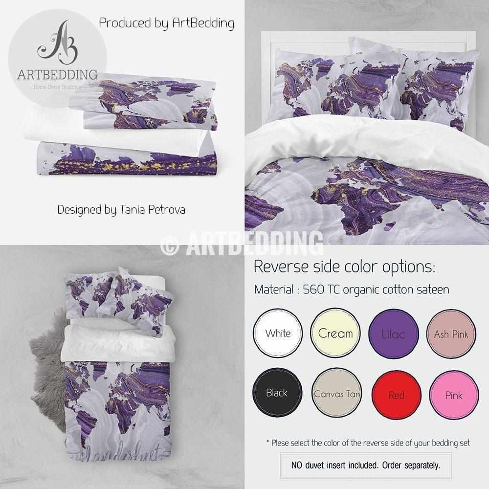 Travel map bedding, Bohemian purple and gold marble adventure duvet cover set, Wanderlust travel map comforter set Bedding set