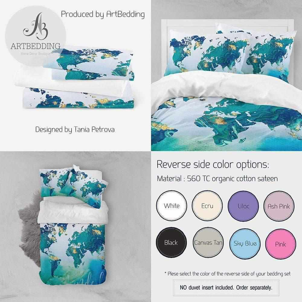 Travel map bedding, Boho adventure duvet cover set, Wanderlust travel map bedding, Colorful acrilic painting art bedding Bedding set