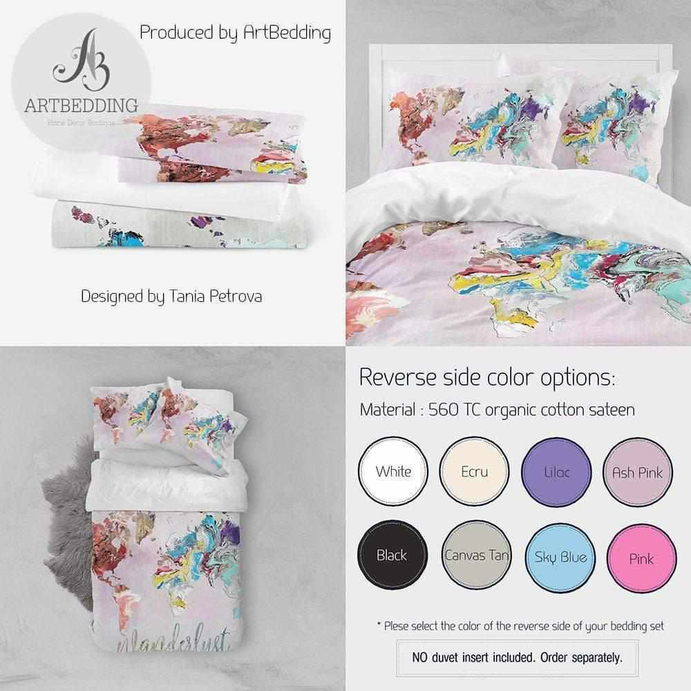 Travel map bedding, Boho adventure duvet cover set, Wanderlust travel map comforter set Bedding set