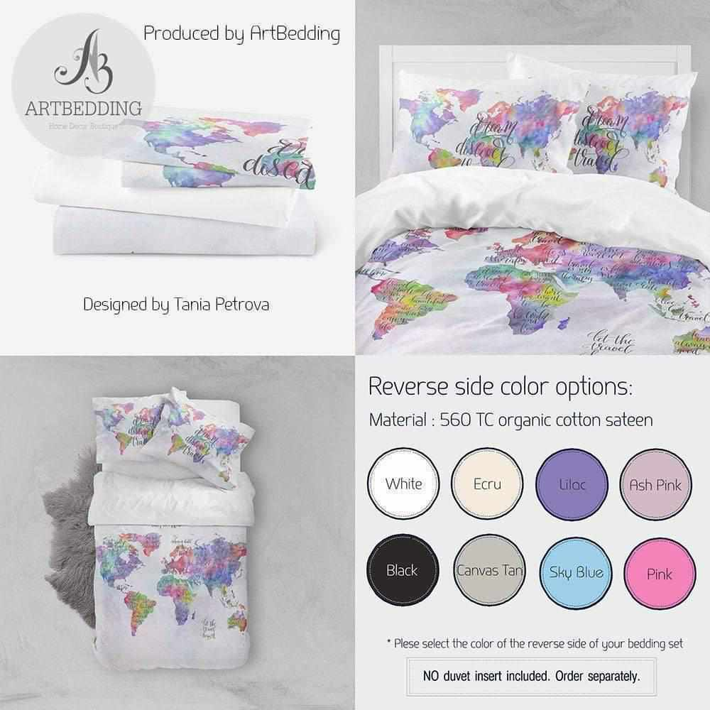 Travel map bedding, Boho watercolor map duvet cover set, Inspirational quote bedding, Watercolor art bedding Bedding set