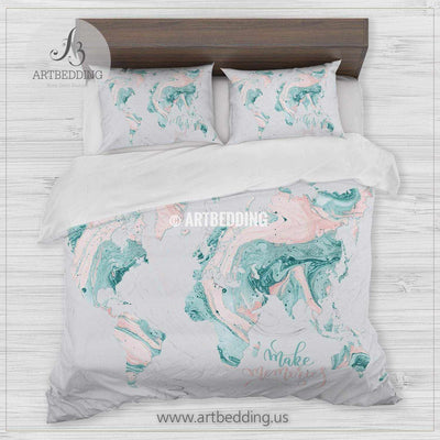 Travel map bedding, White and gold liquid marble world map duvet cover set, Wanderlust marble comforter set Bedding set