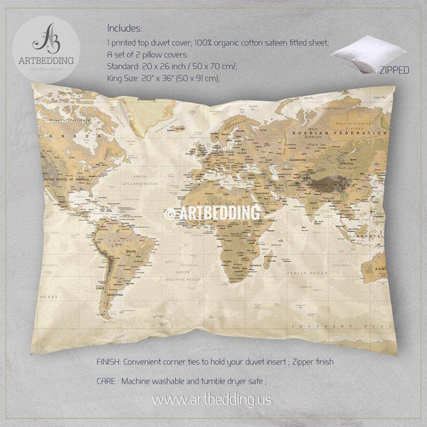 Travel World Map Bedding Vintage Look Phisical World Map