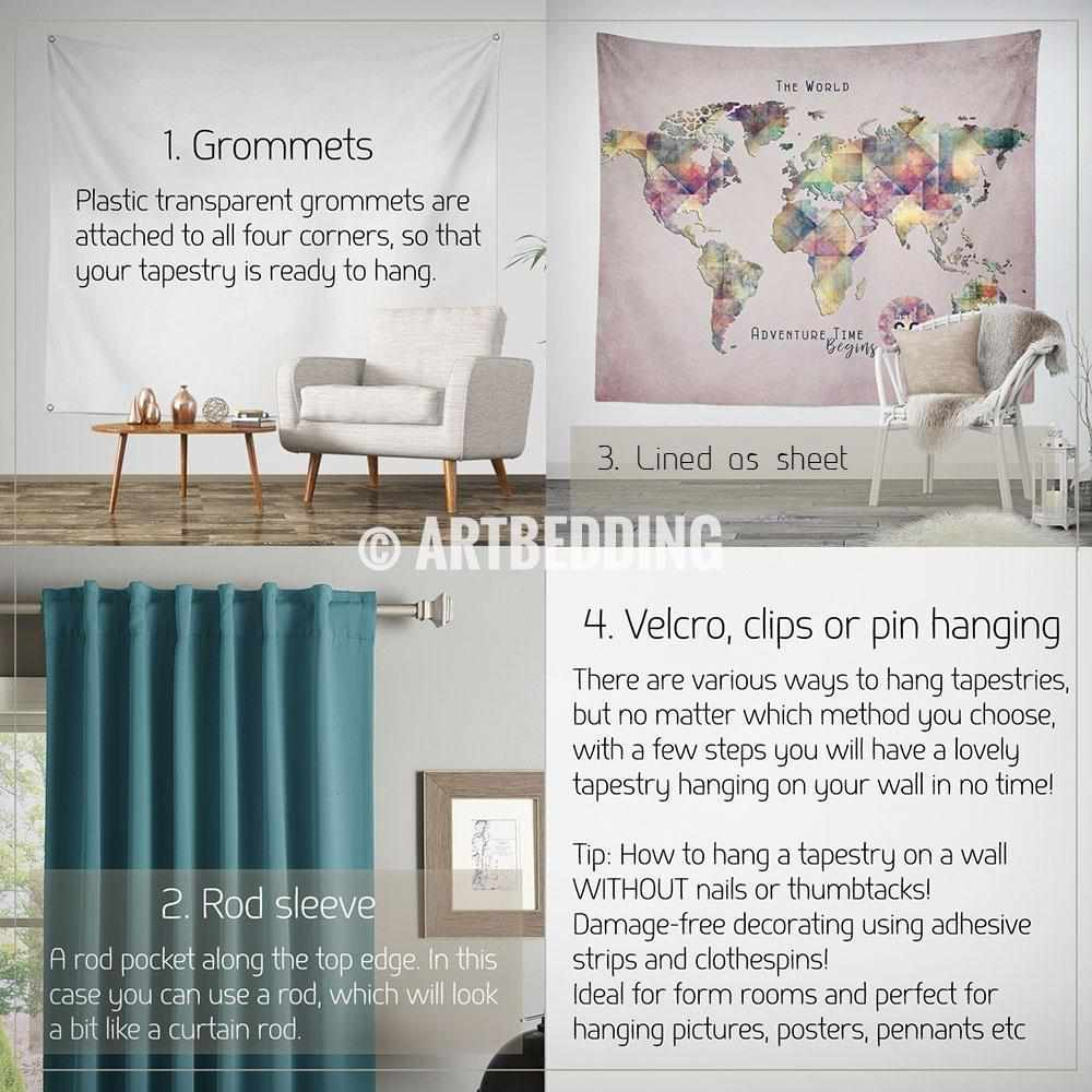 Travel world map wall tapestry watercolor adventure map wall travel world map wall tapestry watercolor adventure map wall hanging bohemian wall tapestries gumiabroncs Images