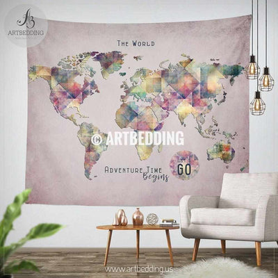Travel world map wall Tapestry, Watercolor Adventure map wall hanging, bohemian wall tapestries, boho wall decor Tapestry