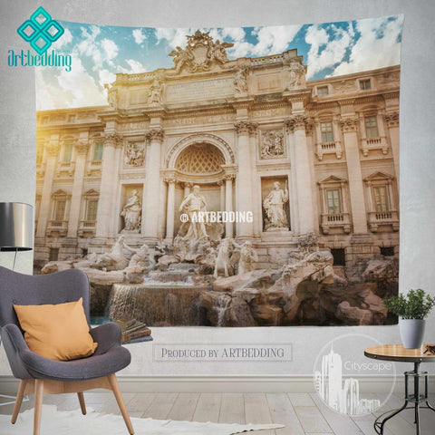 Trevi fountain in Rome wall tapestry, Rome at dusk wall tapestry, Rome landmark wall decor
