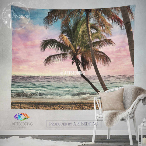 Tropical beach wall tapestry, Tropical beach at sunset wall tapestry, Old photo beach wall decor, Palm trees wall hanging, bohemian wall tapestry