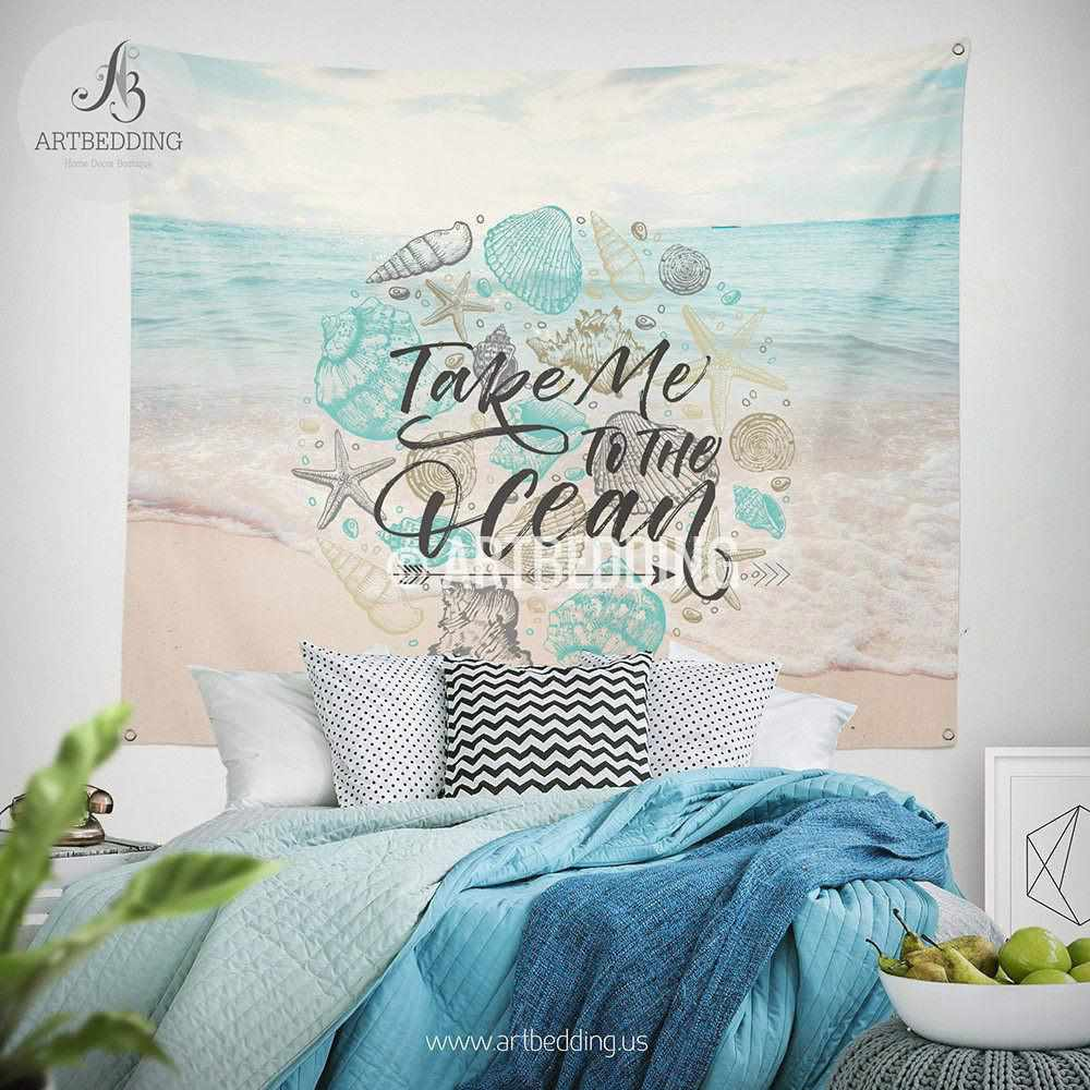 Tropical beach wall tapestry, Tropical beach summer wall tapestry, Serene beach wall decor,  Summer quote wall hanging, bohemian wall tapestry, boho chic decor Tapestry