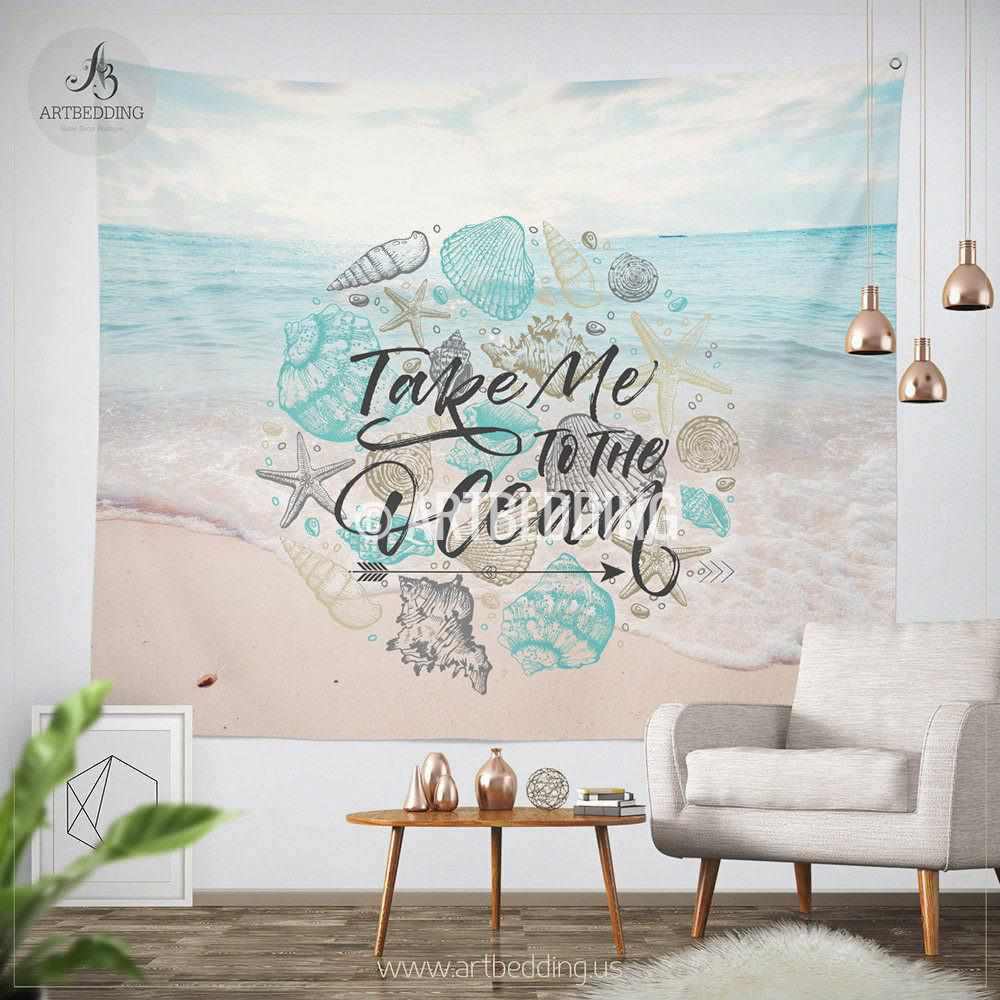 Tropical beach wall tapestry tropical beach summer wall for Summer beach decor