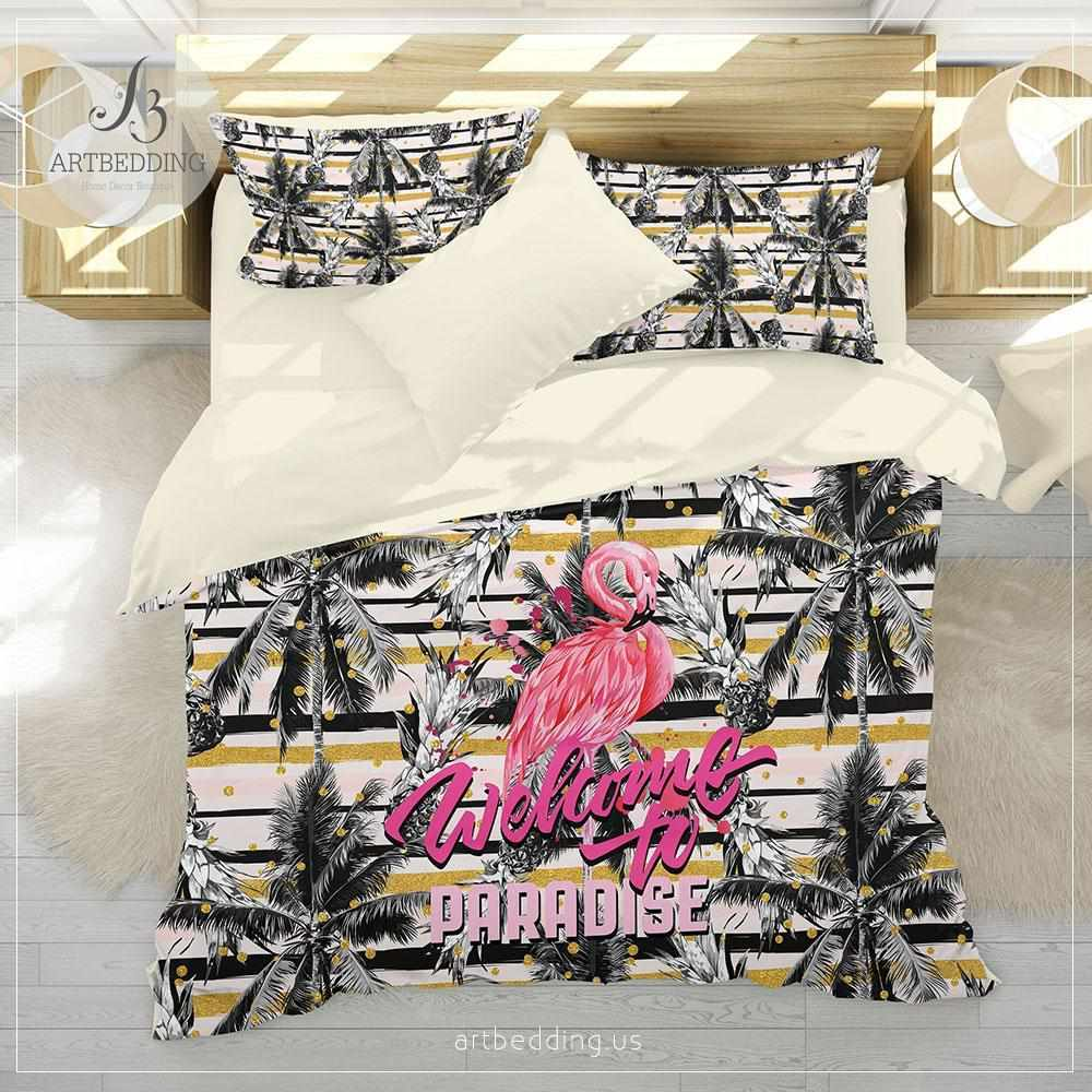 FLAMINGOS AND PALM TREES SINGLE DUVET COVER SET PINK 2 IN 1 DESIGN