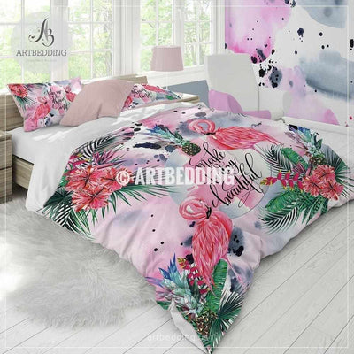 Tropical paradise bedding, Watercolor flamingo tropical flowers duvet bedding set, Summer vibes flamingo comforter set, Pink tropical flowers bedroom decor Bedding set