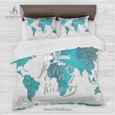 TURQUOISE GREEN AND BLUE WATERCOLOR ABSTRACT PAINTING world map bedding, Watercolor Bohemian world map duvet cover set, Modern adventure world map comforter set Bedding set
