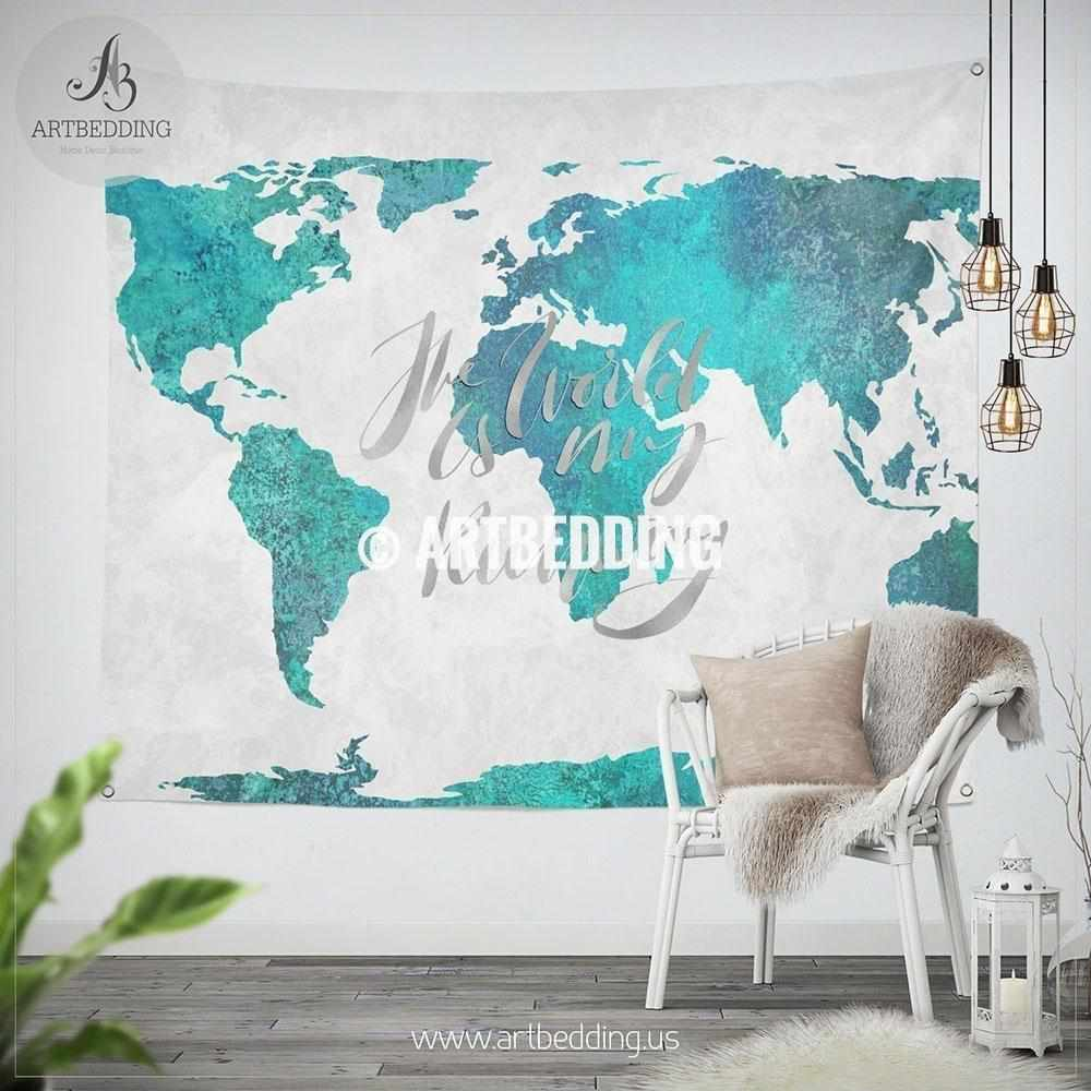 Turquoise green and blue watercolor paint world map wall tapestry turquoise green and blue watercolor paint world map wall tapestry boho summer vibes watercolor map gumiabroncs Images