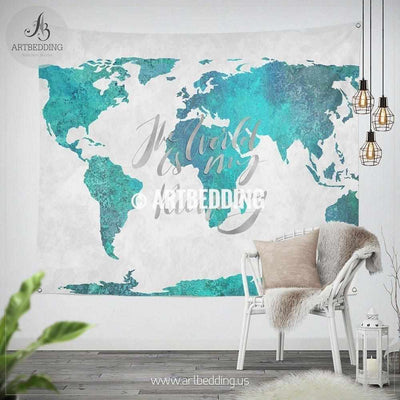 Turquoise green and blue watercolor paint world map wall Tapestry, Boho summer vibes  watercolor map wall hanging, bohemian wall tapestries, boho wall decor Tapestry
