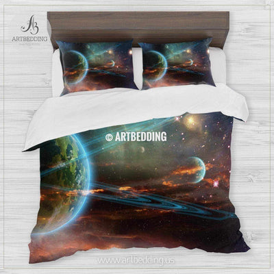 Twin Ring Giant galaxy bedding, Abstract space Bedding set, Galaxy print Duvet Cover, 3D galaxy bedding Bedding set