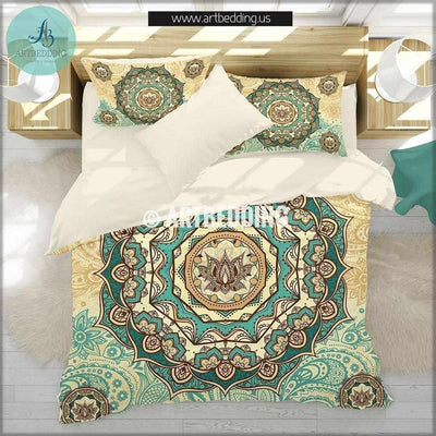 TWIN size Mandala bedding, Bohemian duvet cover set, Lotus mandala duvet, boho bedding, hippie bedspread Bedding set