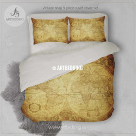 Bedding set offers artbedding twin size vintage world map bedding vintage old map duvet cover antique map queen gumiabroncs Gallery