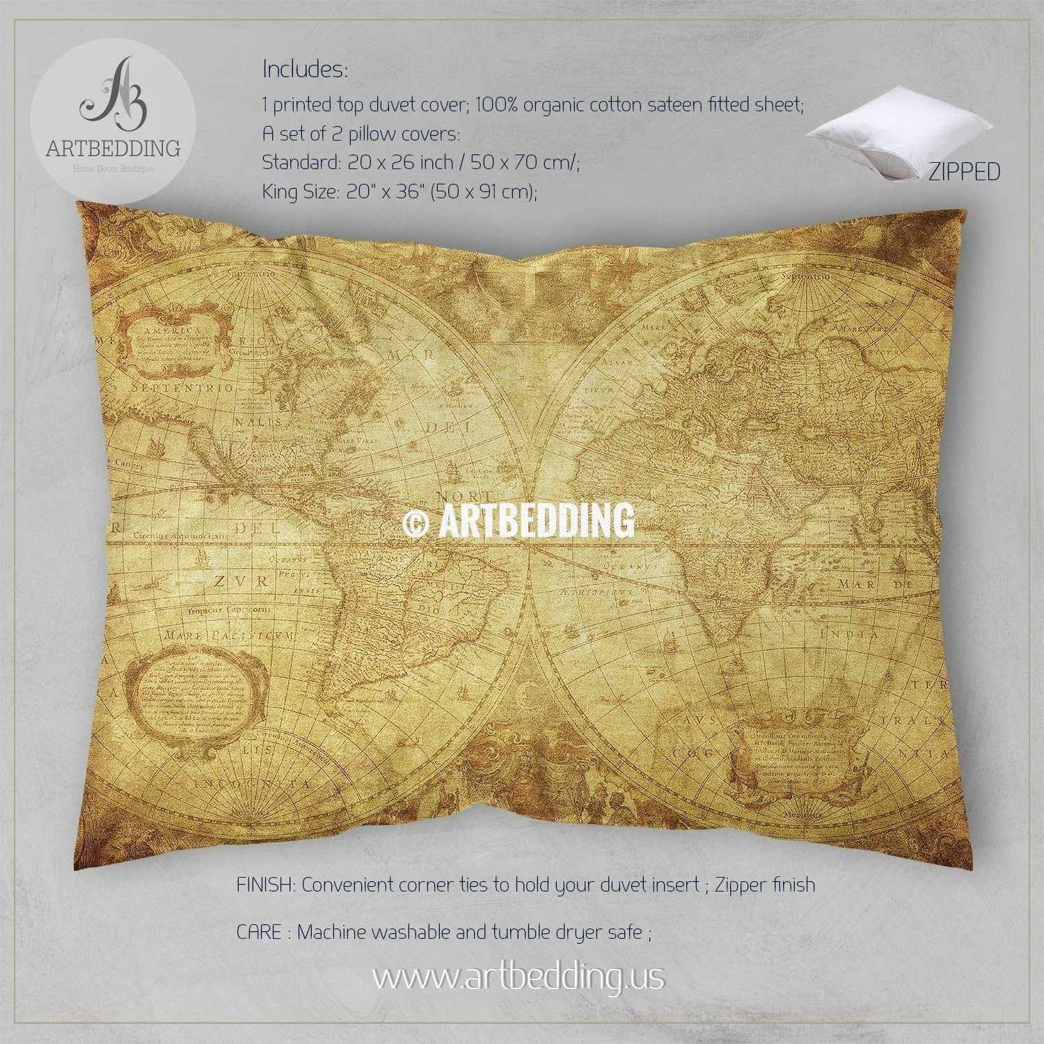 Twin size vintage world map bedding vintage old map duvet cover antique map queen king full bedding set vintage steampunk map duvet cover set twin size vintage world map bedding vintage old map duvet cover antique map queen gumiabroncs Image collections
