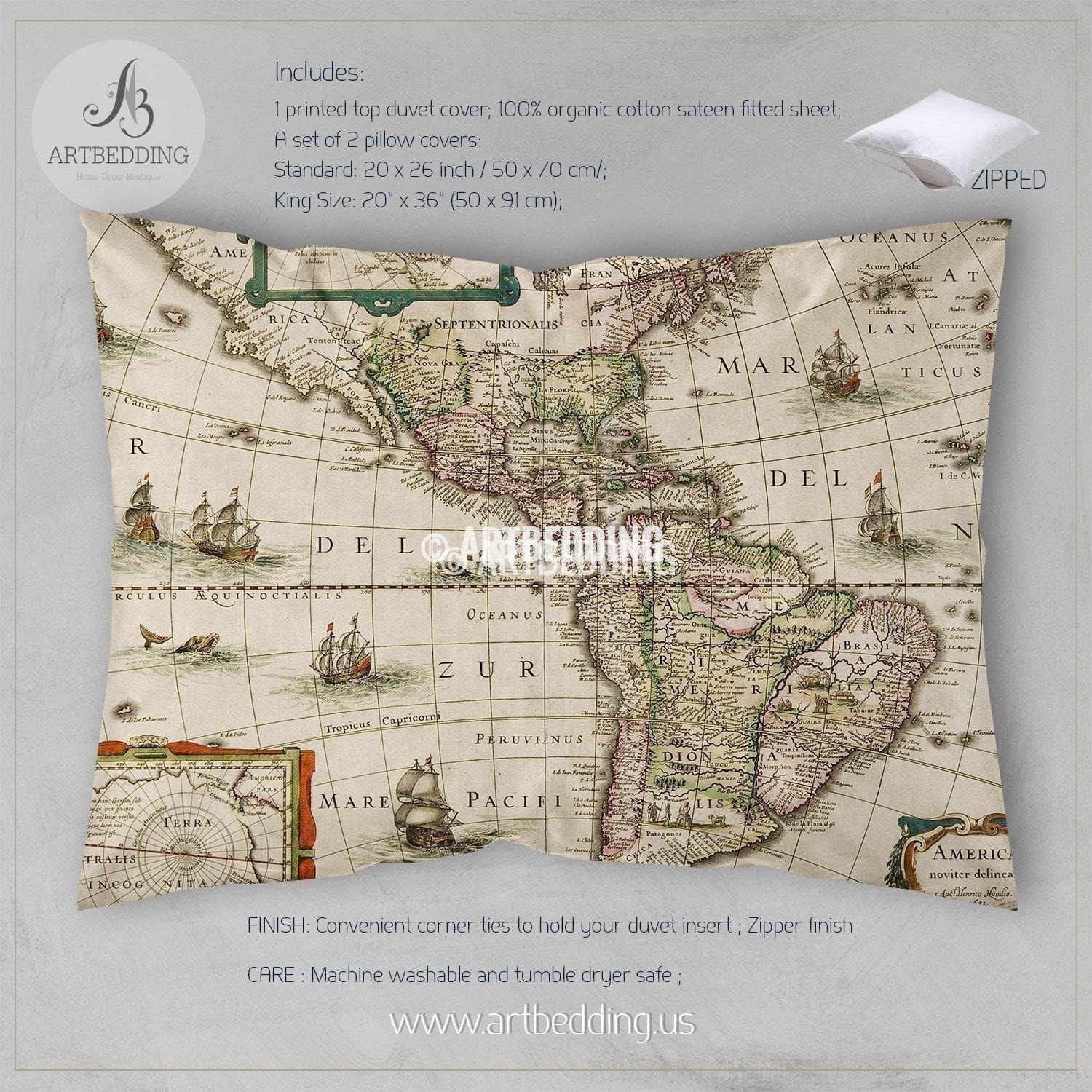 America old map bedding vintage old world map duvet cover set twin xl north and south america old map bedding set vintage old world map duvet gumiabroncs Images