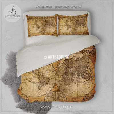 TWIN XL Vintage map Duvet cover, Vintage old map duvet cover, Antique map queen / king / full Bedding Set, Vintage steampunk map Duvet cover set Bedding set