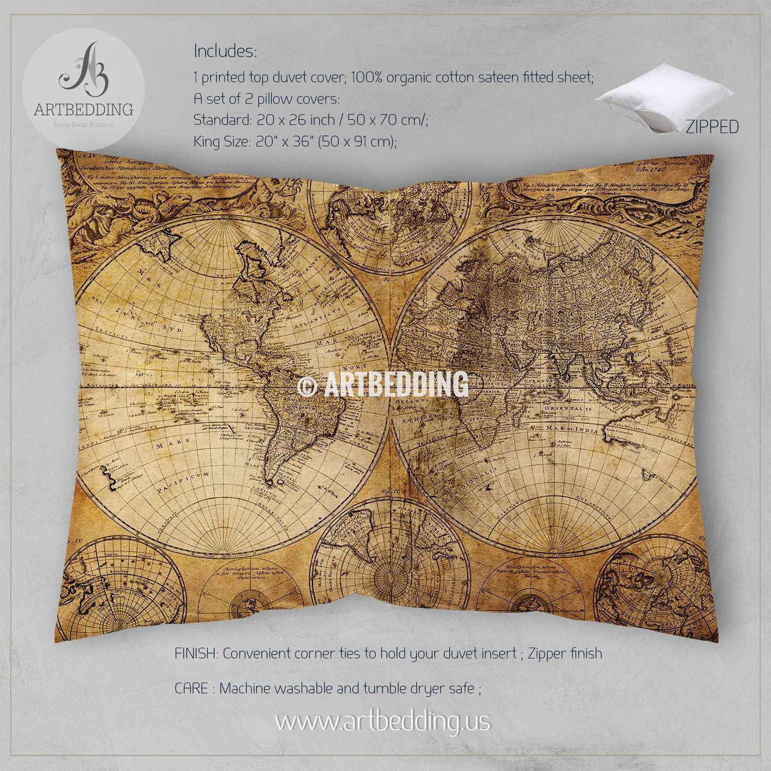 Twin Xl Vintage Map Duvet Cover Vintage Old Map Dorm Duvet Cover - Old-map-of-us
