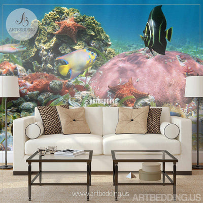 Underwater wildlife Wall Mural, Wildlife in Cancun, Mexico Self Adhesive Photo Mural, Underwater wallpapers wall mural