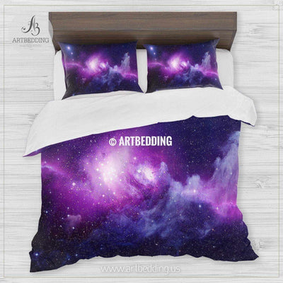 Universe filled with stars, nebula and galaxy bedding, Abstract space Bedding set, Galaxy print Duvet Cover, 3D galaxy bedding Bedding set