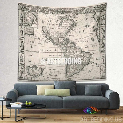 Vintage America map wall tapestry, America vintage world map wall hanging, old map wall decor, vintage map wall art print