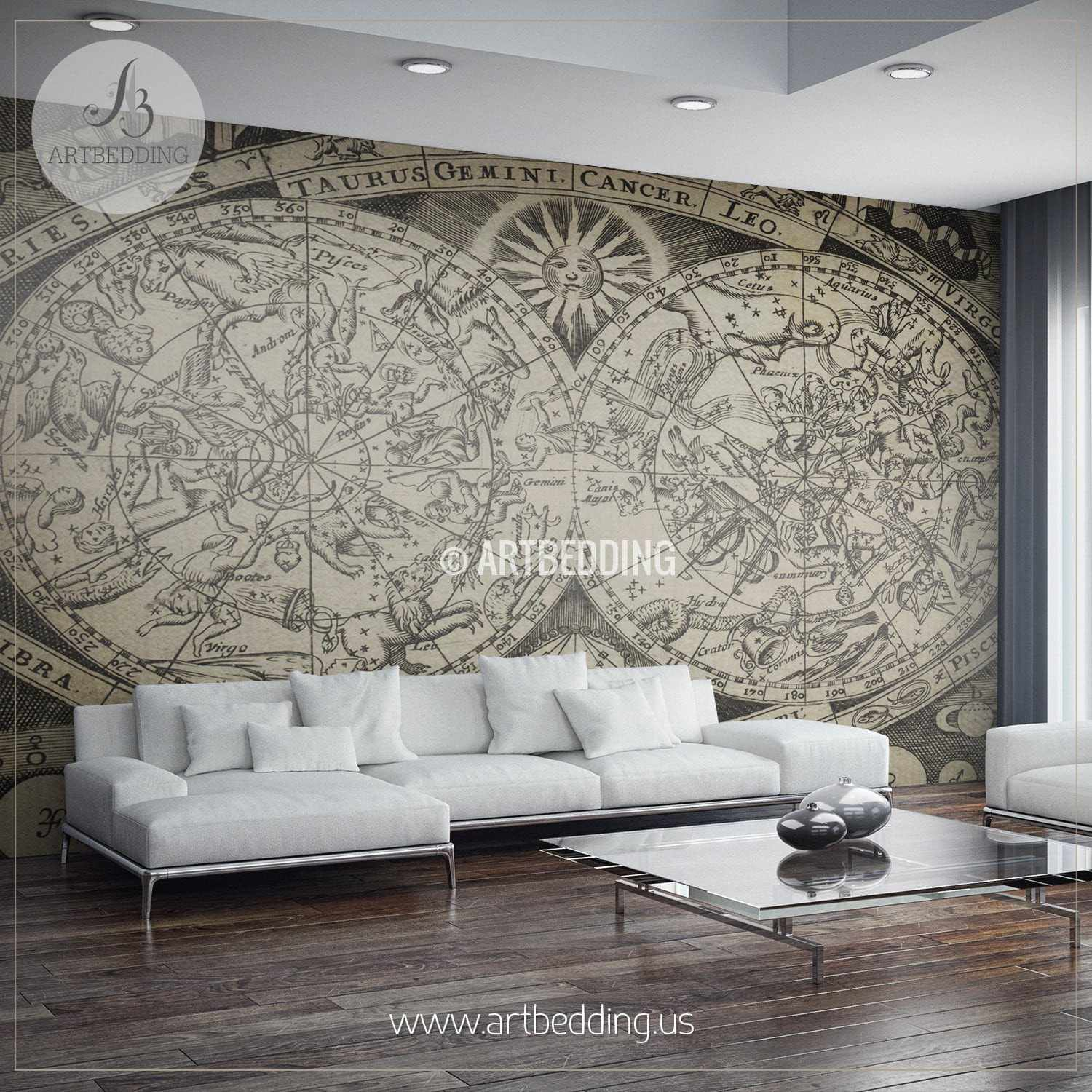 Vintage map wall mural self adhesive photo mural artbedding vintage astronomical celestial map wall mural self adhesive peel stick photo mural atlas amipublicfo Gallery