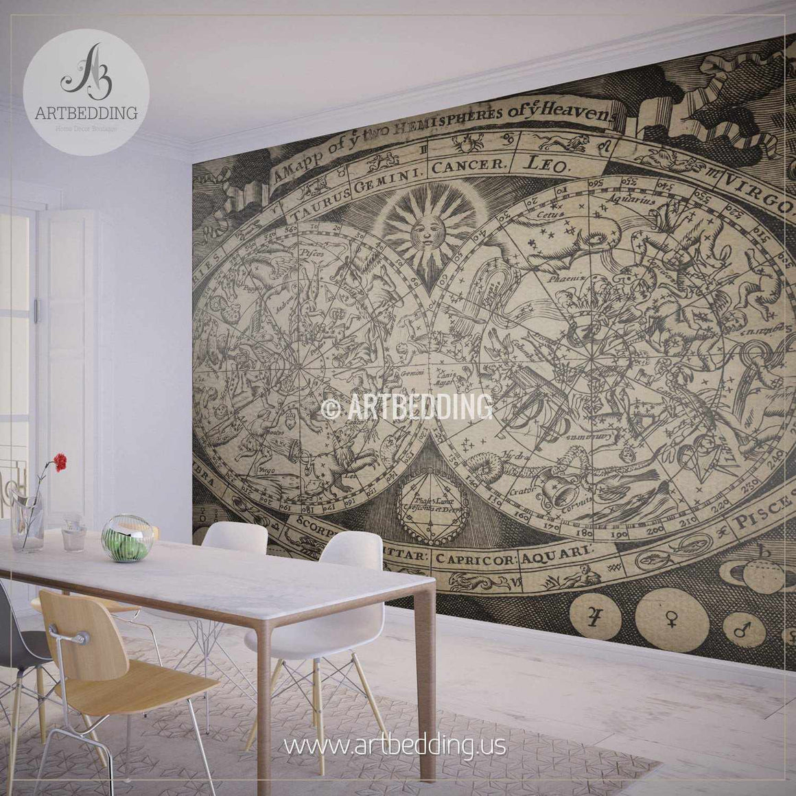 Vintage Astronomical Celestial Map Wall Mural, Self Adhesive Peel & Stick Photo Mural, Atlas wall mural, mural home decor wall mural