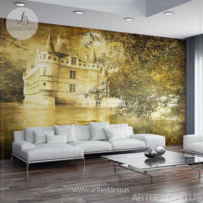 Vintage France castle Wall Mural, France castle vintage Photo Mural, vintage white castle in France wall decor wall mural