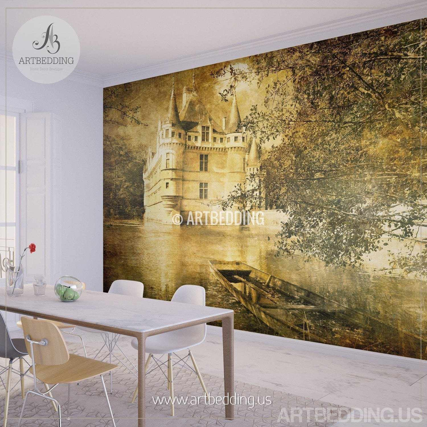 Vintage France castle Wall Mural, France castle vintage Photo Mural ...