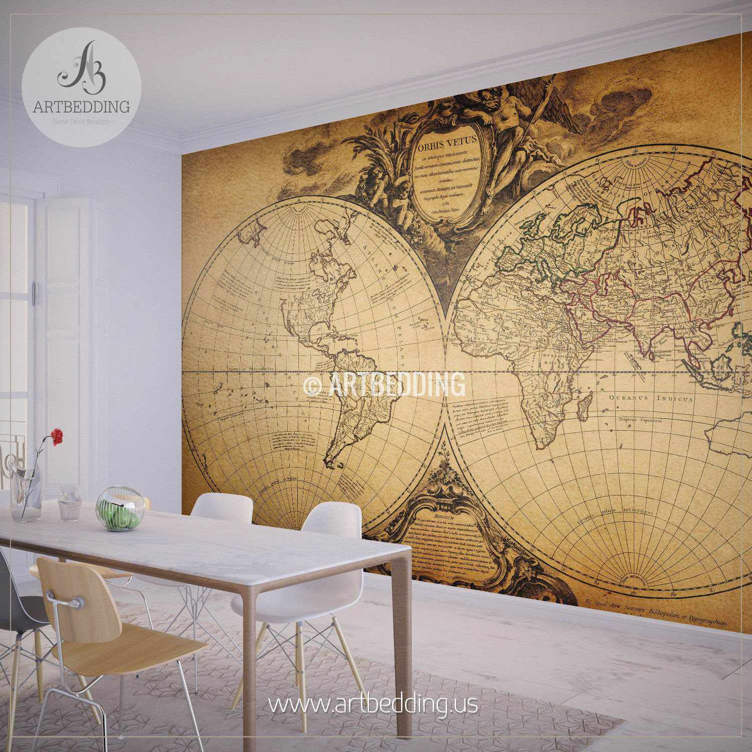 Vintage map wall mural self adhesive photo mural artbedding for Antique wallpaper mural