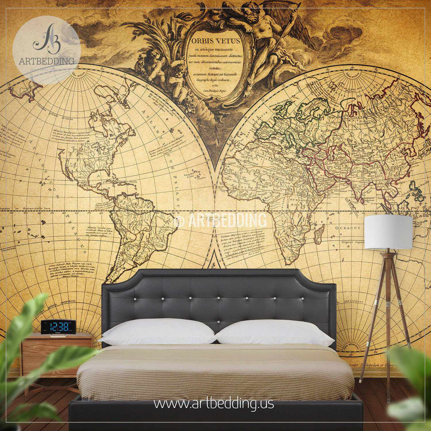 Vintage map wall mural self adhesive photo mural artbedding vintage hemisphere map wall mural self adhesive peel stick photo mural atlas wall amipublicfo Image collections