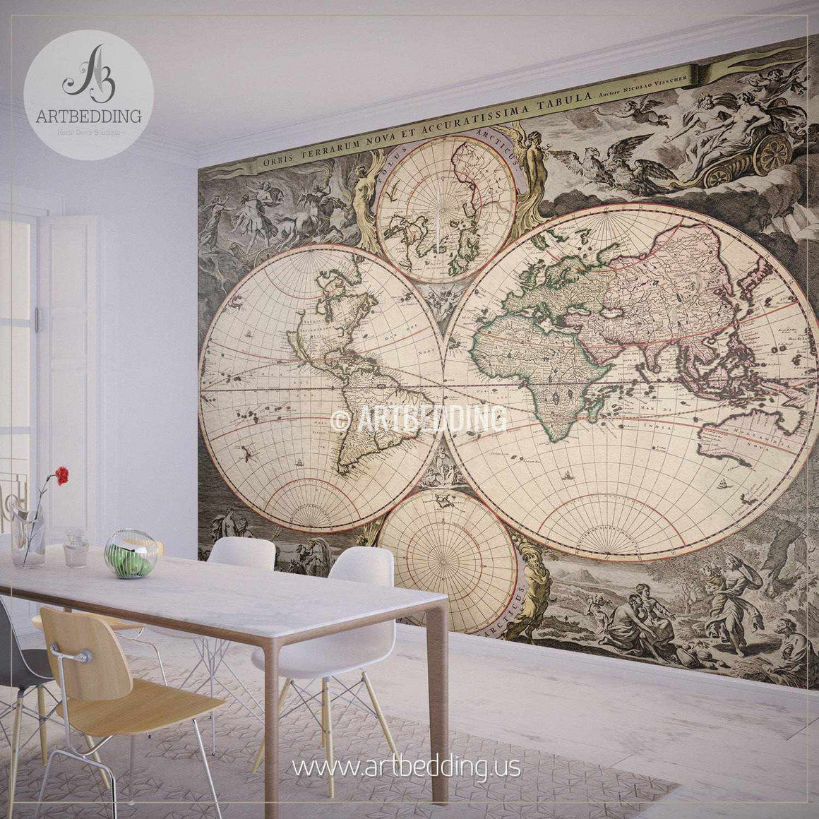 Vintage Hemisphere  Map Wall Mural, Self Adhesive Peel & Stick Photo Mural, Atlas wall mural, mural home decor wall mural