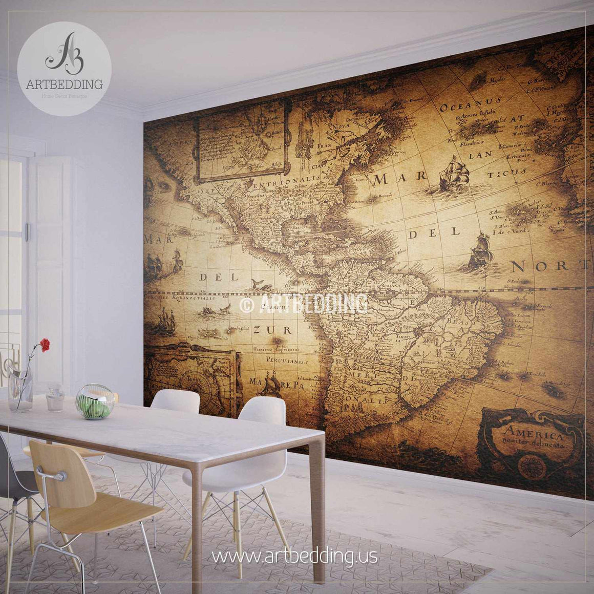 Vintage Map (America, 1632) Wall Mural, Self Adhesive Peel & Stick Photo Mural, Atlas wall mural, mural home decor wall mural