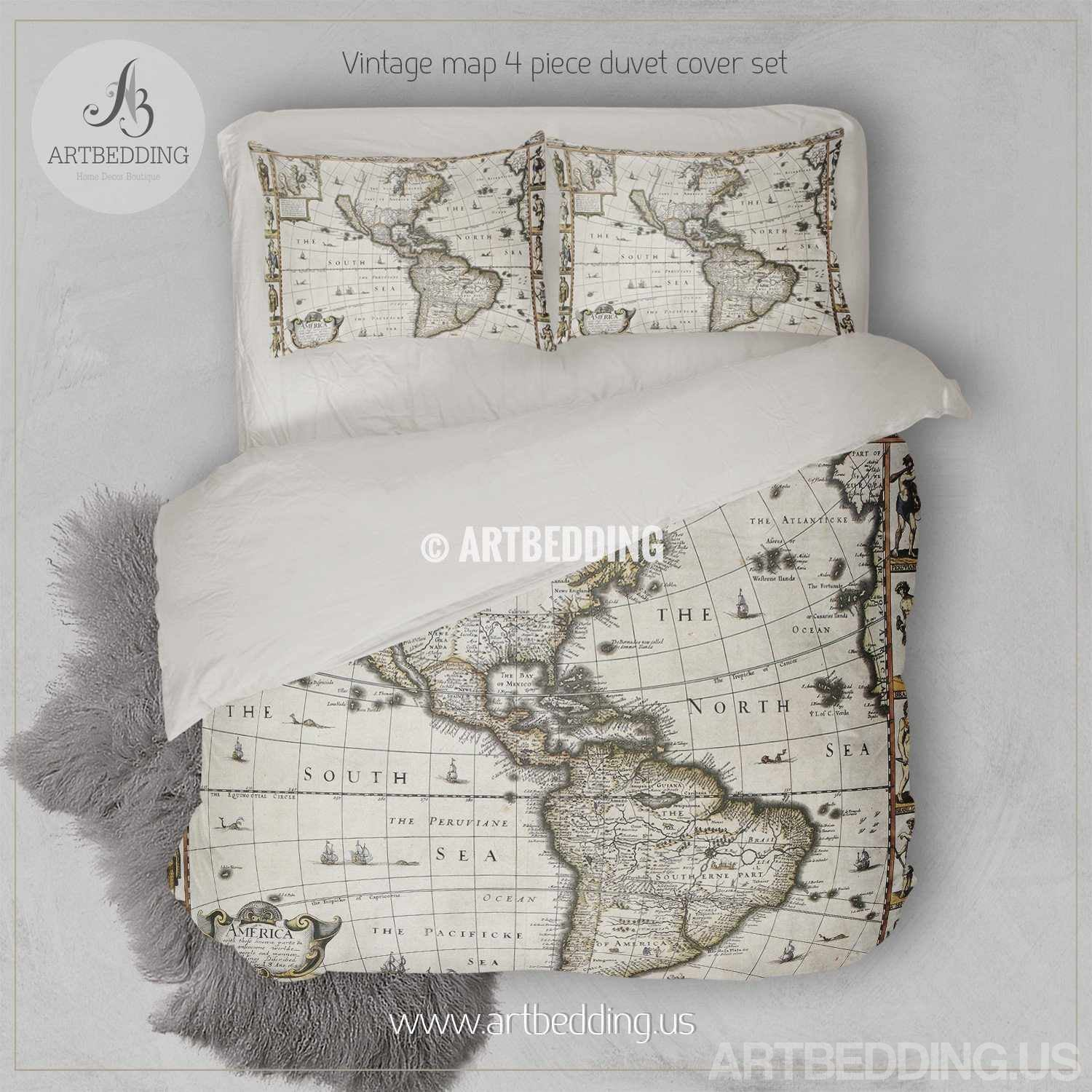 Vintage world map bedding 1627 antique map of north and south set vintage map bedding vintage america old map duvet cover antique map queen king gumiabroncs Gallery