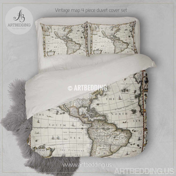 Vintage World Map Bedding 1627 Antique Map Of North And