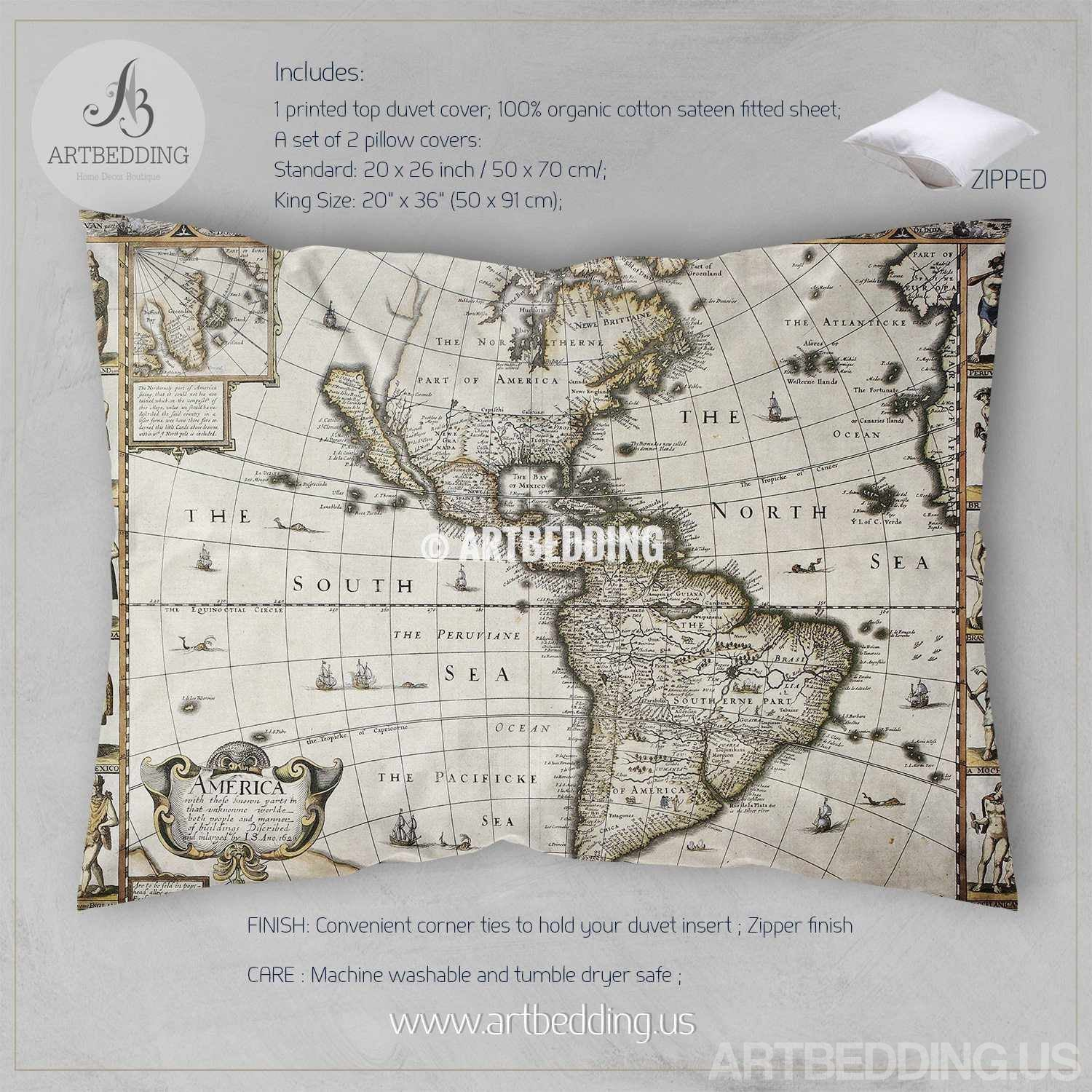 Vintage world map bedding 1626 antique map of north and south vintage map bedding vintage america old map duvet cover antique map queen king vintage world gumiabroncs Choice Image