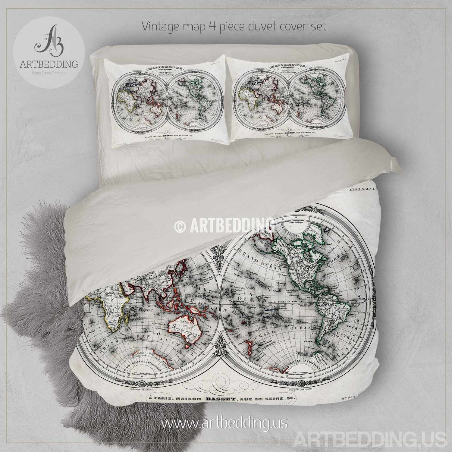 Vintage world map bedding vintage 1846 hemispheres map of the vintage map bedding vintage old map duvet cover antique map of the world queen gumiabroncs Gallery
