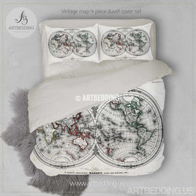 Vintage world map bedding tagged world map bedding set artbedding vintage map bedding vintage old map duvet cover antique map of the world queen gumiabroncs Gallery