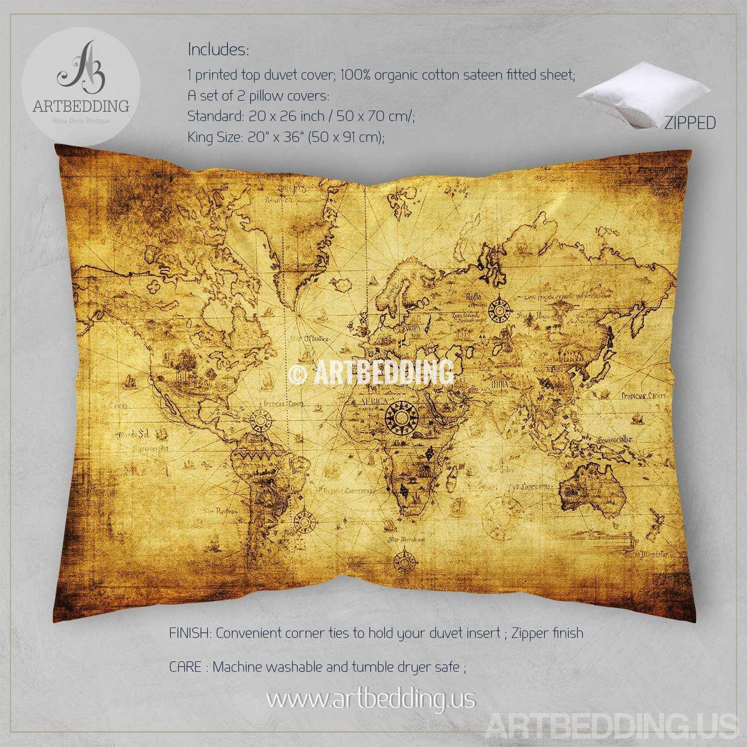Ancient world map bedding vintage old map duvet cover set vintage map bedding vintage old map duvet cover antique map of the world queen gumiabroncs Gallery