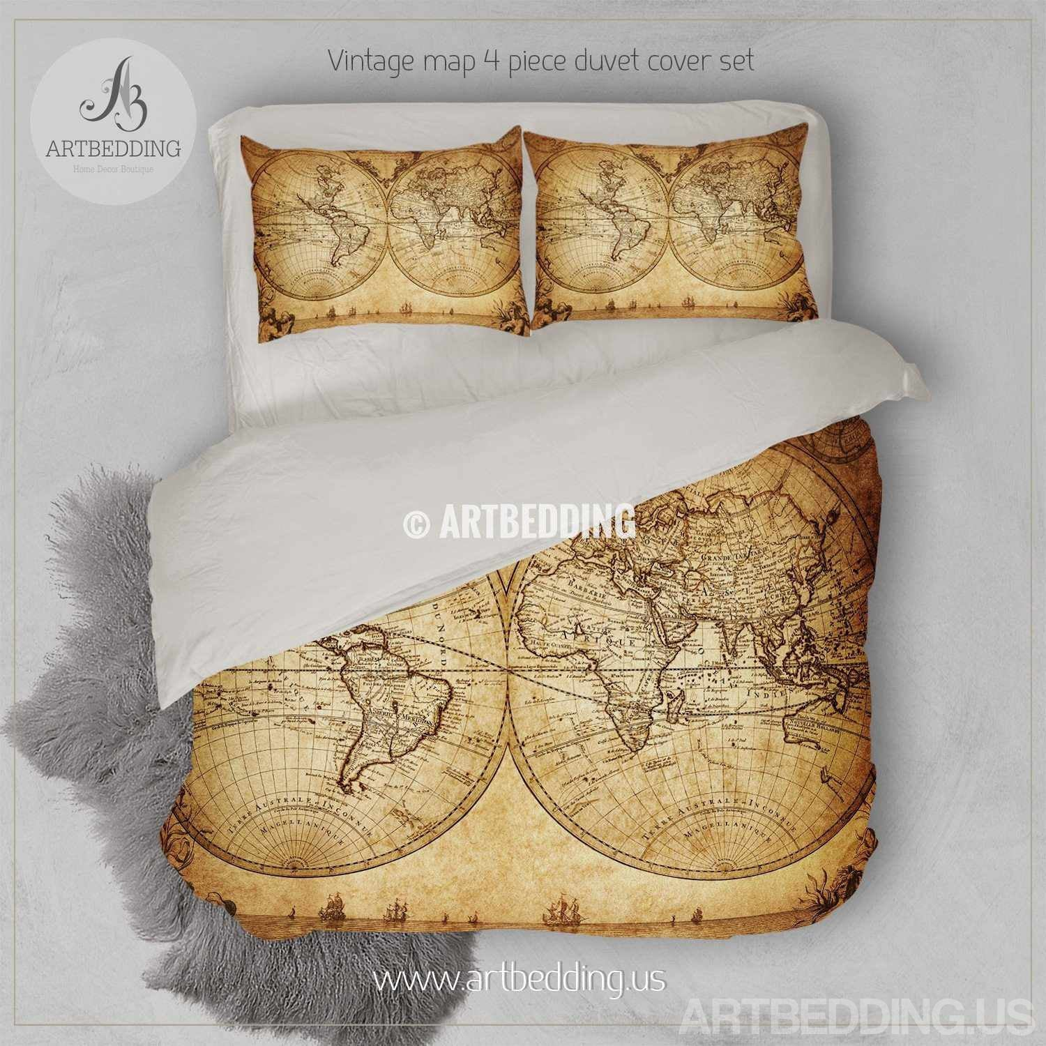 Vintage world map bedding, 1733 Historical old map of the world duvet cover  set, Antique map comforter set