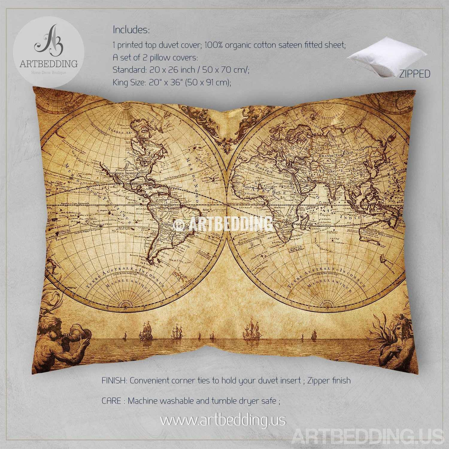 Vintage world map bedding, 1733 Historical old map of the world ...