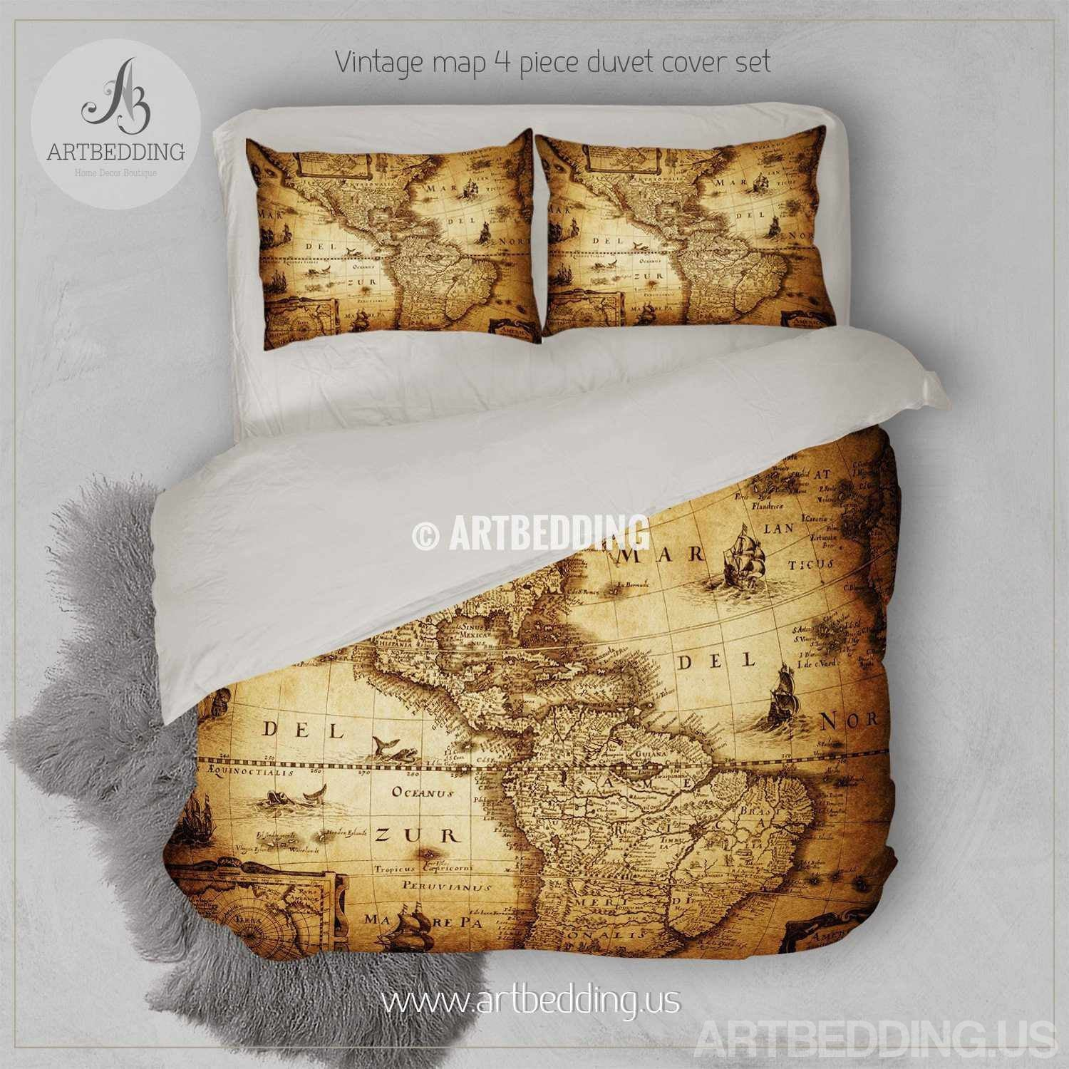 Vintage world map bedding, Antique map of the world 1635 luxury duvet cover  set, steampunk world map comforter