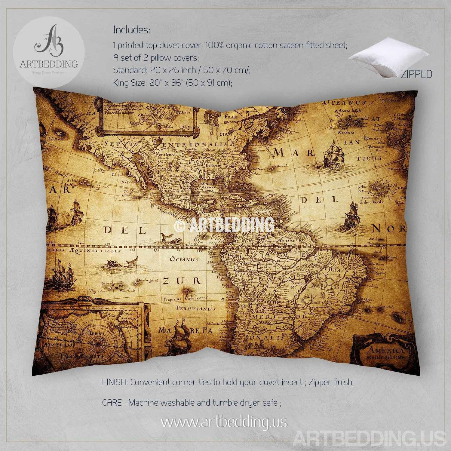 Vintage world map bedding antique map of the world 1635 luxury vintage map bedding vintage old map duvet cover antique map queen king vintage world gumiabroncs Gallery