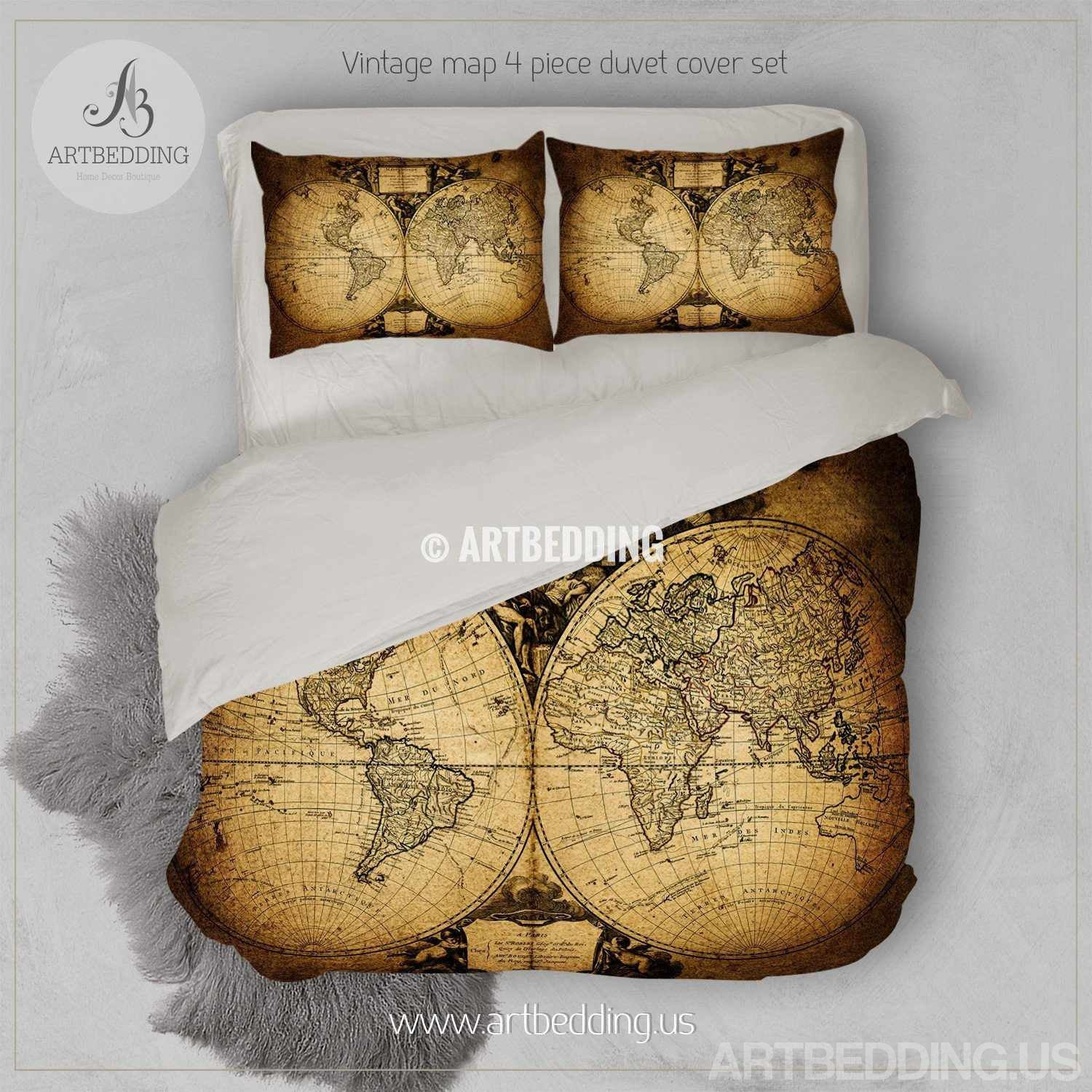 Vintage world map bedding antique map of the world 1752 duvet cover world 1752 duvet cover set steampunk vintage map bedding vintage old map duvet cover antique map queen king gumiabroncs Choice Image