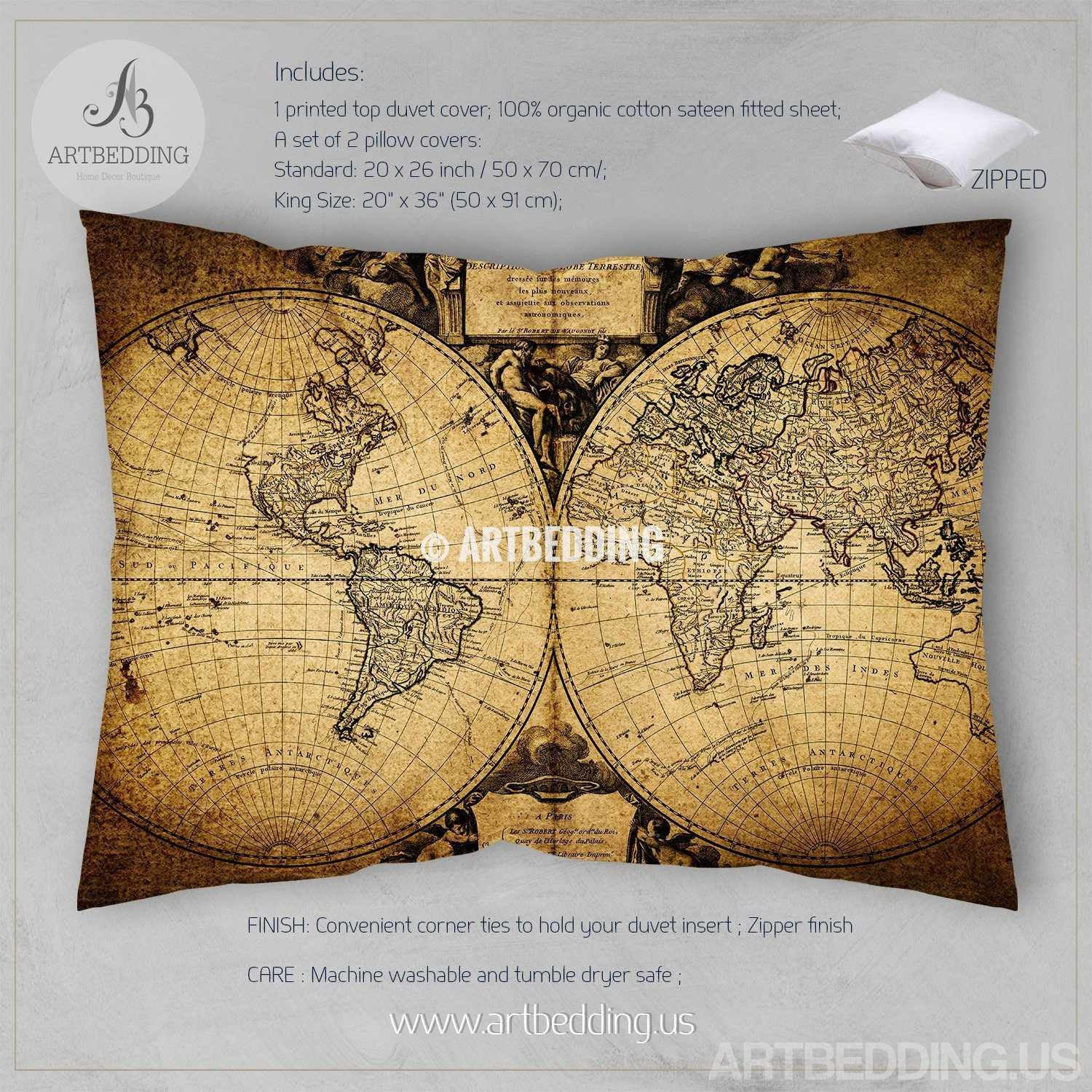 Vintage world map bedding antique map of the world 1752 duvet cover vintage map bedding vintage old map duvet cover antique map queen king vintage world gumiabroncs Image collections