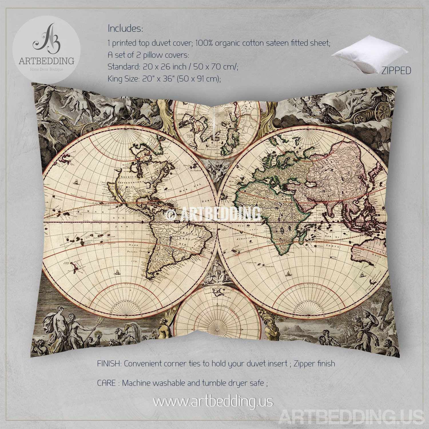 Vintage world map bedding antique 1690 old map duvet cover set vintage map bedding vintage old map duvet cover antique map queen king vintage world gumiabroncs Gallery