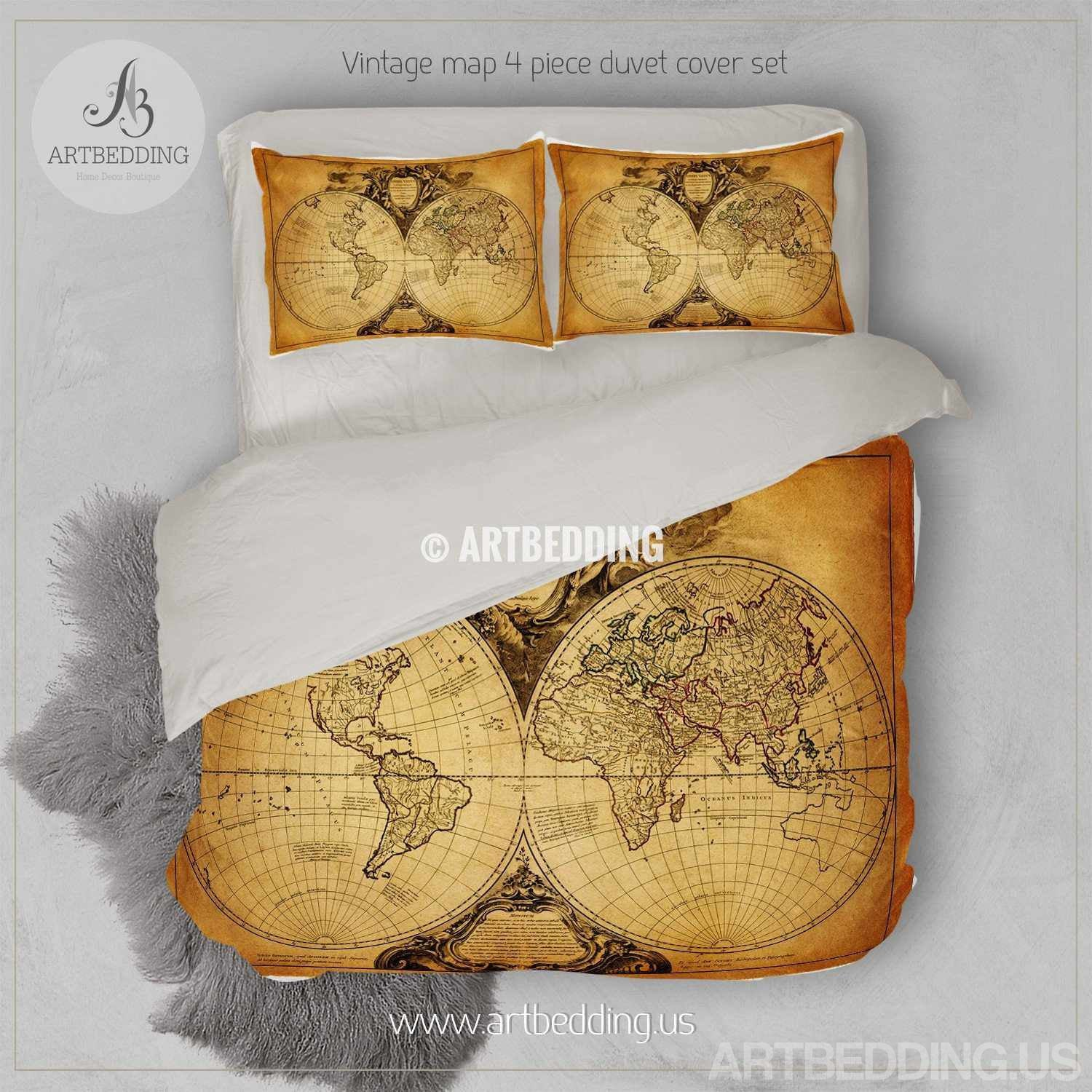 vintage map bedding vintage old map duvet cover antique map queen king